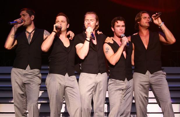 Shane Lynch, Mikey Graham, Ronan Keating, Stephen Gately and Keith Duffy - Boyzone performing at Powerderham castle, Devon (07/25/2008)
