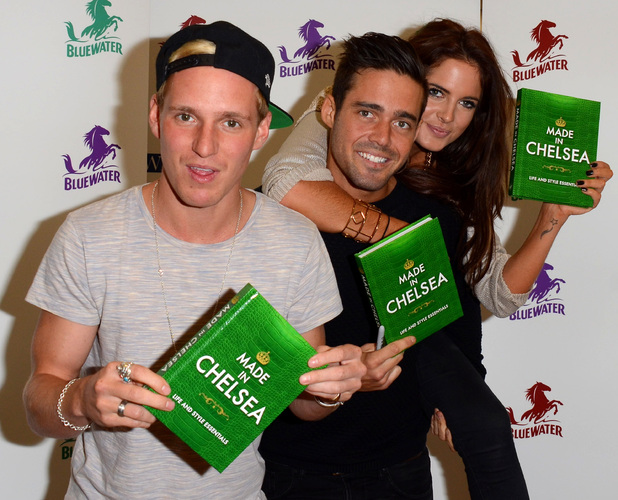 Made In Chelsea stars Spencer Matthews, Binky Felstead and Jamie Laing attend a book signing for Tim Randall's Made in Chelsea: Life and Style Essentials: The Official Handbook at WHSmith in Bluewater Shopping Centre, 2 November