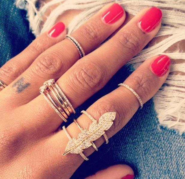 Ciara has boyfriend Future's initial tattooed on her ring finger - April 2013