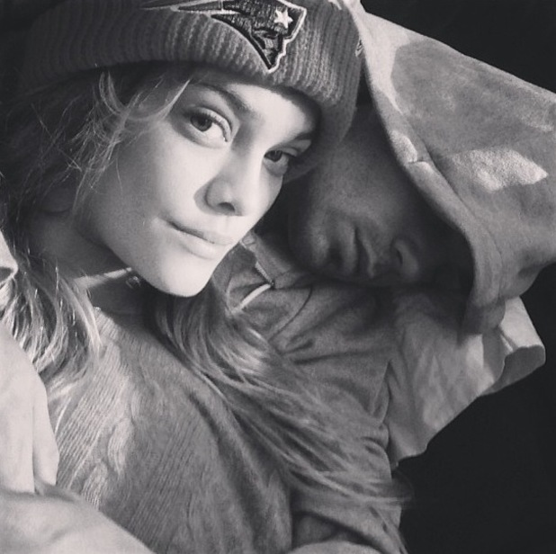 Nina Agdal and boyfriend The Wanted's Max George sleeping on the tour bus (26 October)