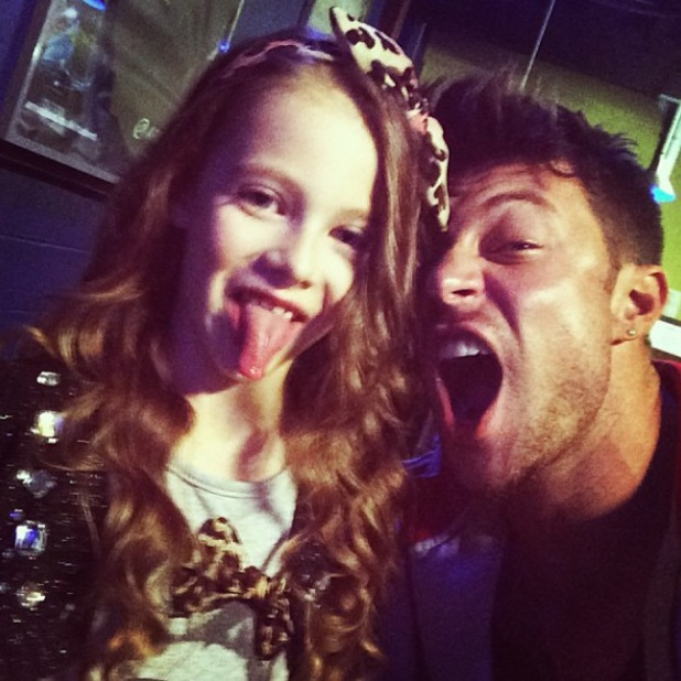 Duncan James from Blue and his daughter Tianie-Finn backstage in Liverpool on tour - 27 October 2013