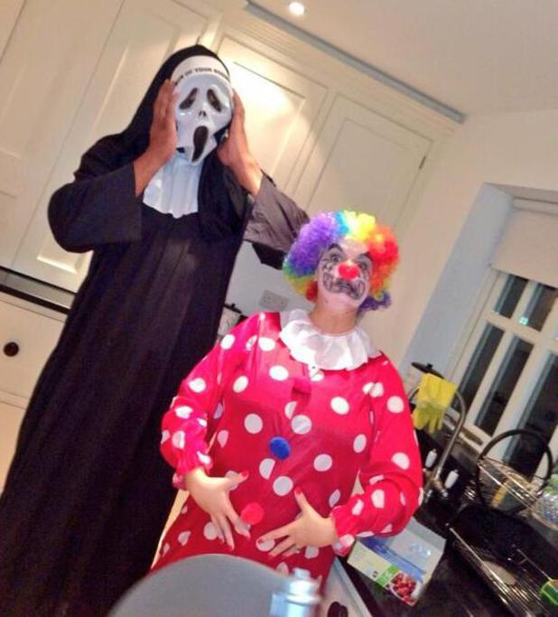 Kerry Katona dresses as a clown for Halloween (31 October 2013).