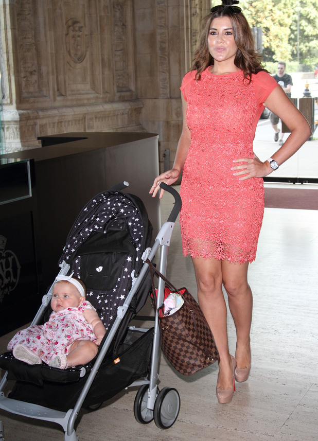 Imogen Thomas at Disneys Little Mermaid Diamond Edition Blu Ray launch at the Royal Albert Hall, with baby daughter Ariana Siena. 29/08/2013