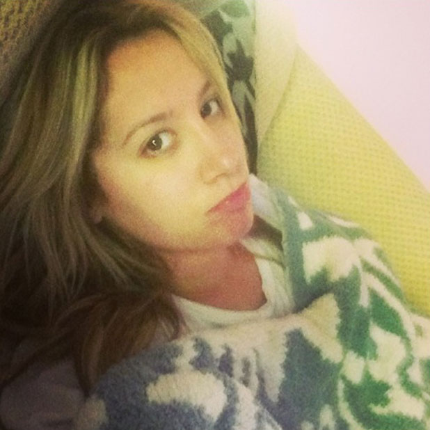 Ashley Tisdale tweets make-up free picture of herself feeling ill, October 2013