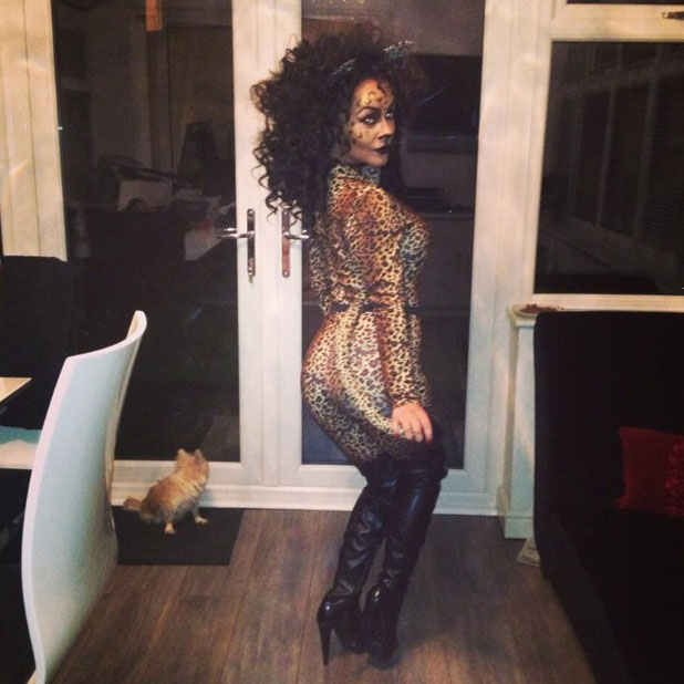 Chelsee Healey shows off her leopard print Halloween 2013 costume, 31 October.