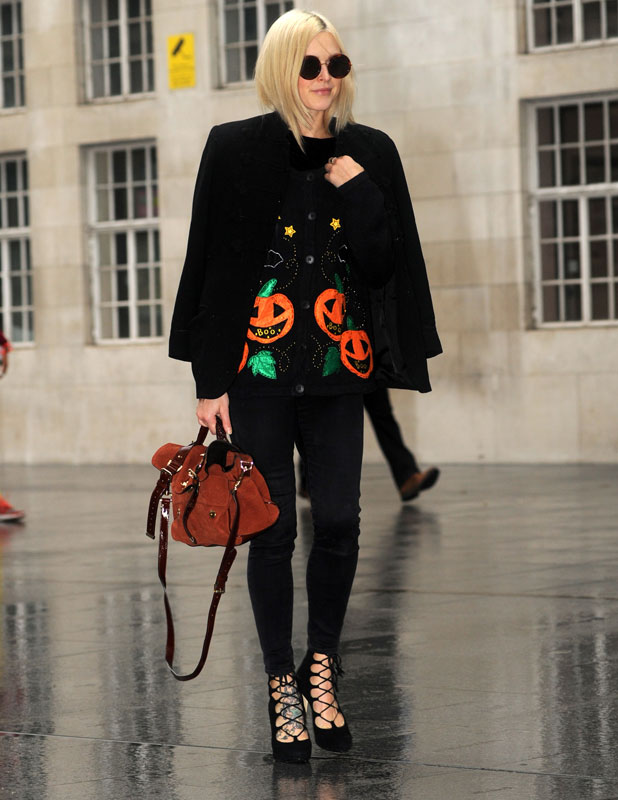 Fearne Cotton arrives at Radio 1 sporting a Halloween outfit, 31 October 2013