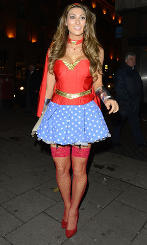 Luisa Zissman arriving in fancy dress as Wonder Woman for a Halloween party at Mahiki, 31 October 2013