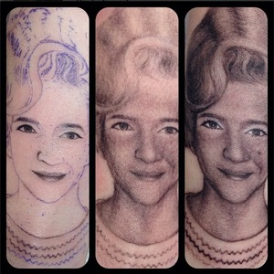 Miley Cyrus' arm tattoo of her grandmother. (5 November).