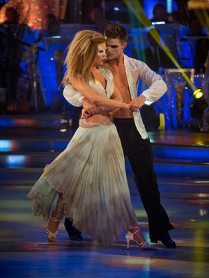 Abbey Clancy dances during the Halloween special of Strictly Come Dancing. November 2013.