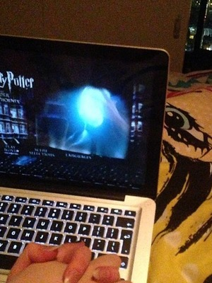Helen Flanagan Twitter picture of her Harry Potter DVD night in, Nov 2013