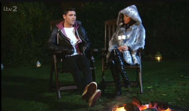 The Only Way Is Essex episode (Sunday 3 November 2013) Tom Pearce and Lucy Mecklenburgh talk about their relationship at a party.
