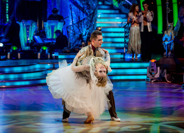 Rachel Riley and Pasha Kovalev dance their last dance, becoming the fifth couple to leave Strictly Come Dancing 2013. November 3 2013.