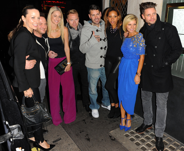 Boyzone's Ronan Keating with Storm Uechtritz, Mikey Graham with wife Karen, Shane Lynch with Sheena White and Lisa and Keith Duffy, at The Ivy, London. 5.11.13