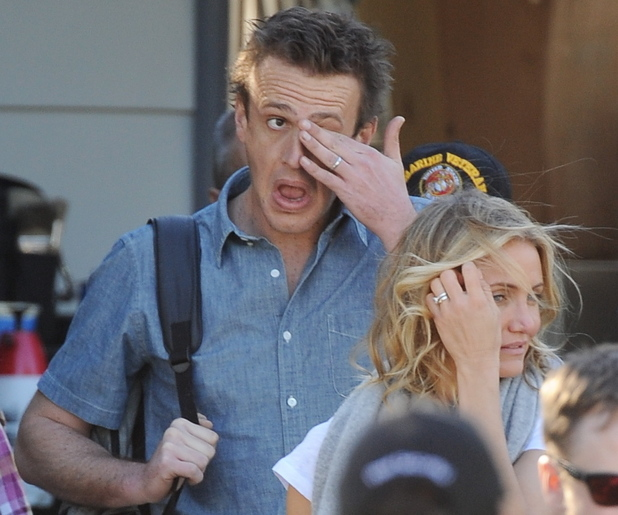 Cameron Diaz and Jason Segel on the set of their new film 'Sex Tape' shooting on location in Los Angeles, Nov 13.