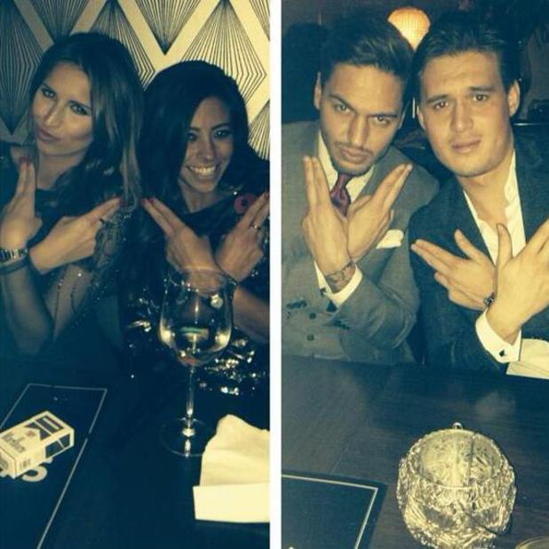 TOWIE's Mario Falcone and girlfriend Pascal Craymar out with co-stars Charlie Sims and Ferne McCann