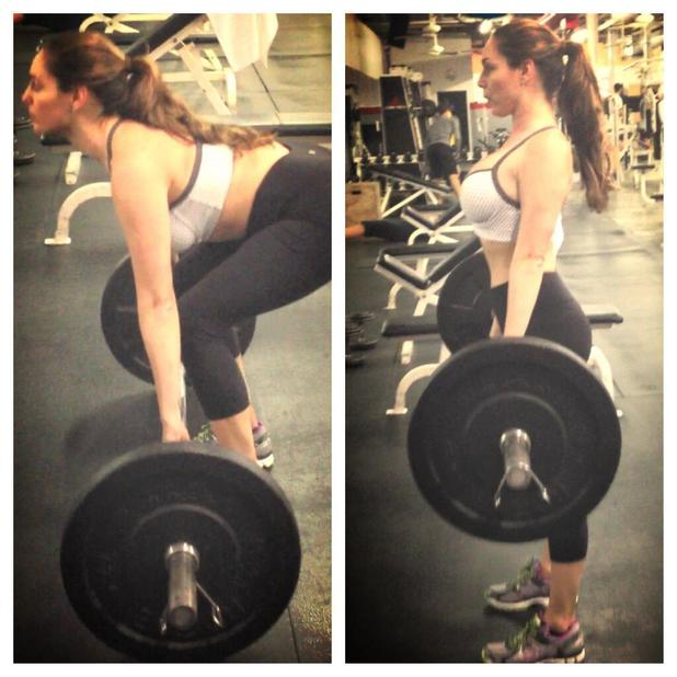 Kelly Brook lifting weights with personal trainer Ashley Borden in the States, Nov 13