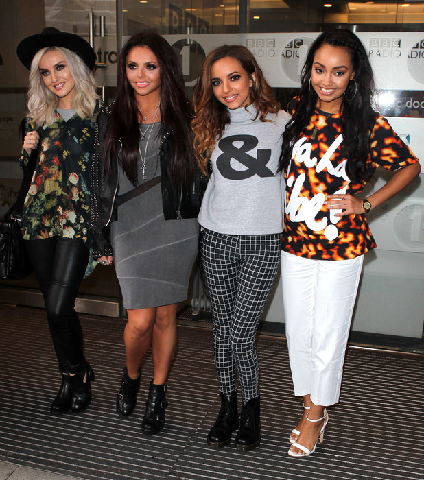 Little Mix's Perrie Edwards, Jesy Nelson, Jade Thirlwall and Leigh-Anne Pinnock outside the Radio 1 studios in London - 7 November 2013