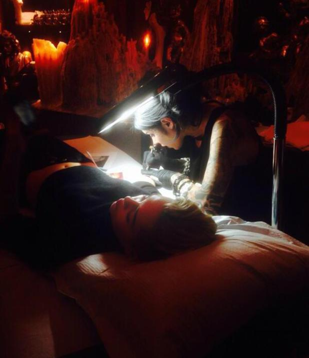 Miley Cyrus gets new tattoo of her Grandmother, inked by tattoo artist Kat Von D