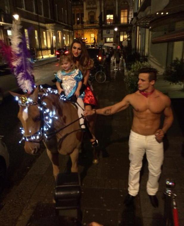 Luisa Zissman arrives to Baker's Toolkit launch on a horse with daughter Dixie - London - 6.11.2013
