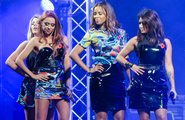 The Saturdays (minus Frankie Sandford) turn on the Christmas Lights and perform live at The Mall at Cribbs Causeway in Bristol, launching the Winter Wonderland and raising funds for the Help for Heroes charity, 7 November 2013