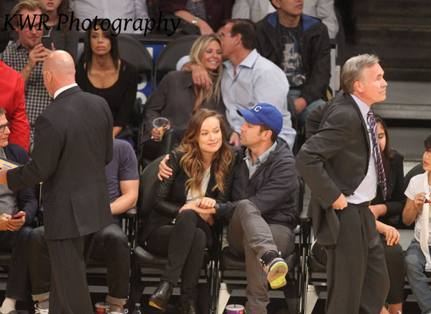 Olivia WIlde, Jason Sudeikis at the Staples Centre for the Lakers game, LA- 02 Nov 2013