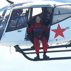 Joey Essex prepares to jump from a plane on ITV1's 'I'm A Celebrity Get Me Out Of Here', due to air on 17 Nov 2013