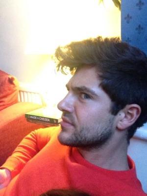 Binky Felstead Tweets a picture of boyfriend Alex Mytton's quiff, Nov 13.