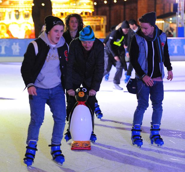 X factor boys Luke Friend, Sam Callahan, Nicholas McDonald and Louis Walsh go ice skating at Natural History Museum - 13.12.2013