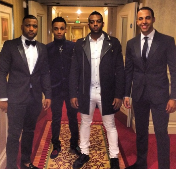 Children in Need dinner at the Grosvenor House Hotel Ballroom, London, Britain - 11 Nov 2013 Group photo of Marvin Humes, Aston Merrygold, Jonathan Gill and Oritse Williams. 11 Nov 2013