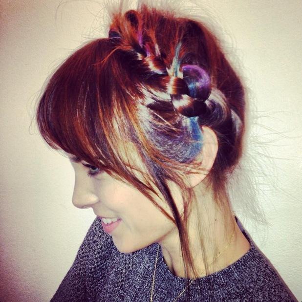 Alexa Chung shows off milkmaid braids on Twitter - 15 November 2013