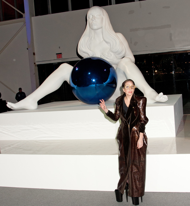 Lady Gaga Celebrates Artpop Album with Volantis Flying Dress Press Conference, Art Installations and Red Carpet in New York, United States.