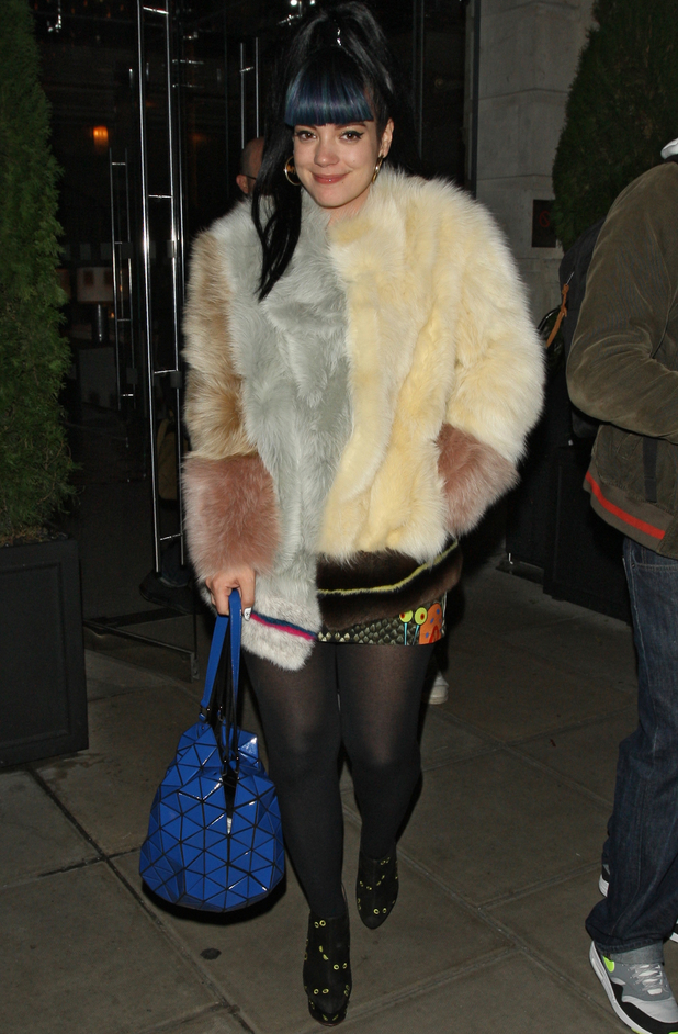 Lily Allen leaves Hotel Edition in London at 3am, Nov 13.