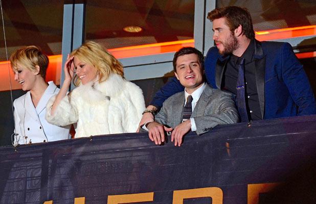 Liam Hemsworth Jennifer Lawrence Josh Hutcherson and Elizabeth Banks at German premiere of 'Hunger Games: Catching Fire' at Cinestar am Potsdamer Platz movie theatre, 12 November 2013