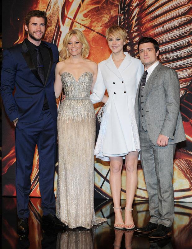 Liam Hemsworth, Jennifer Lawrence, Elizabeth Banks, Josh Hutcherson at German premiere of 'Hunger Games: Catching Fire' at Cinestar am Potsdamer Platz movie theatre, 12 November 2013