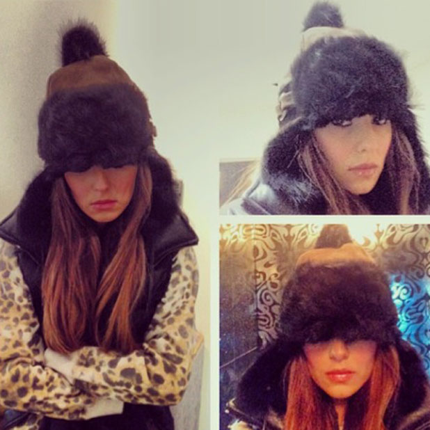 Cheryl Cole wraps up warm against the cold weather, November 2013