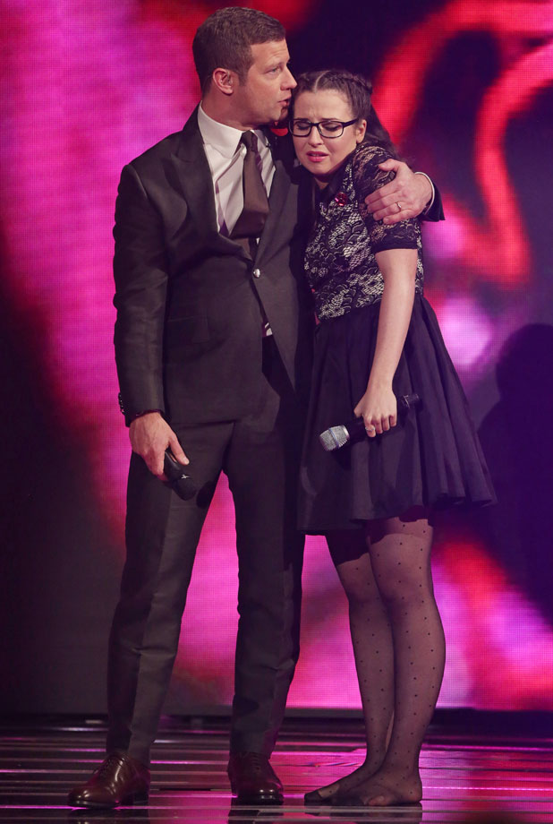 Dermot O'Leary comforting Abi Alton, The X Factor' TV show, London, Britain - 10 Nov 2013