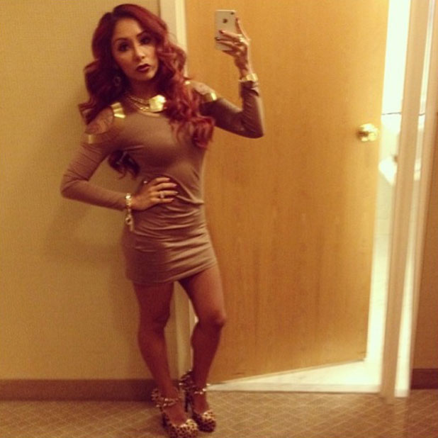 Snooki in a brown dress while promoting Supre Tan in Nashville, November 2013