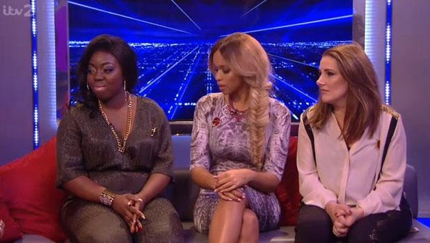 Hannah Barrett, Tamera Foster and Sam Bailey on Xtra Factor, 10 November 2013