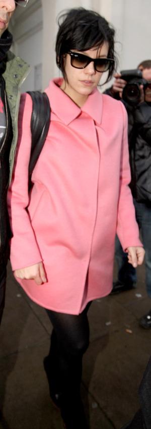 Lily Allen wearing a pink coat - 2 December 2009
