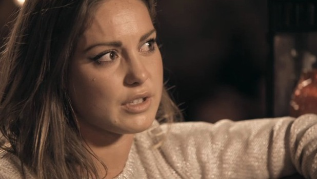 Made In Chelsea's Louise Thompson crying after a chat with ex boyfriend Andy Jordan. Episode Monday 18 November 2013.
