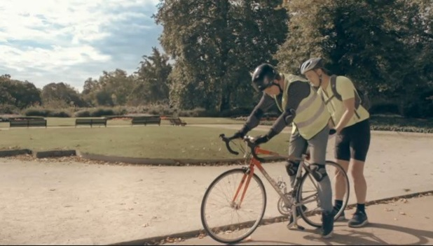 Francis Boulle teaches Stevie Johnson how to ride a bike