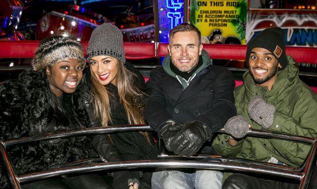 'The X Factor' finalists visit Hyde Park Winter Wonderland, London, Britain - 21 Nov 2013 Hannah Barrett, Nicole Scherzinger, Gary Barlow and Rough Copy - Joey James