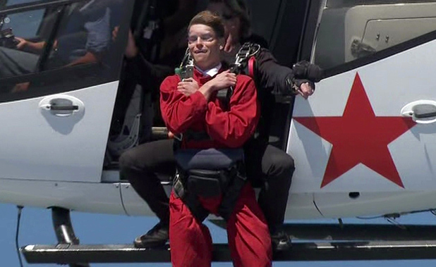 I'm A Celebrity... Get Me Out Of Here! Joey Essex is seen parachuting out of a helicopter on 'I'm A Celebrity... Get Me Out Of Here!', Shown on ITV1 HD (17/11/13)