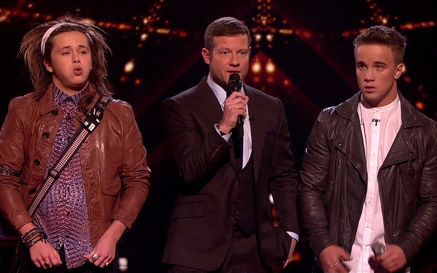 The X Factor - Results: Sam Callahan, Luke Friend and Dermot O'Leary Caption:	Sam Callahan is sent home after the judges vote on 'The X Factor - Results', Shown on ITV1 HD