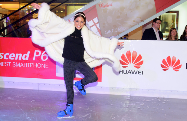 Louise Thompson pictured at the launch of the Huawei ice rink at Westfield London - 20 November 2013