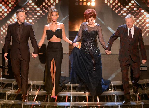 Nicole Scherzinger, Gary Barlow, Sharon Osbourne, Louis Walsh on The X Factor, London - 16 November 2013