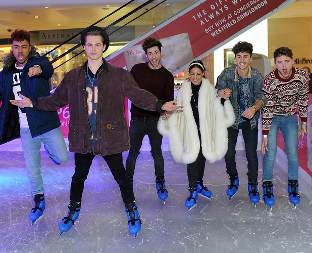 Louise Thompson and Kingsland Road pictured at the launch of the Huawei ice rink at Westfield London - 20 November 2013