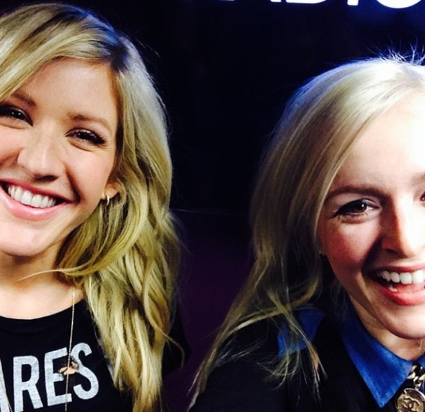 Fearne Cotton and Ellie Goulding laughing at BBC Radio 1 studios, London - 19.11.2013