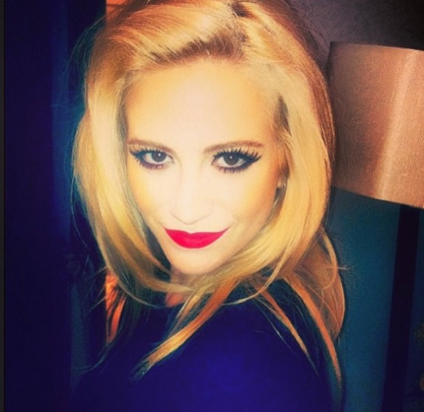Pixie Lott shows off her red lips on Instagram before Amy Winehouse foundation ball at The Dorchester, London, 20 November 2013