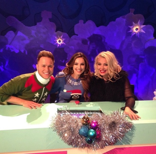 Kelly Brook on Christmas special of Celebrity Juice with Olly Murs and Kim Wilde - 20.11.2013